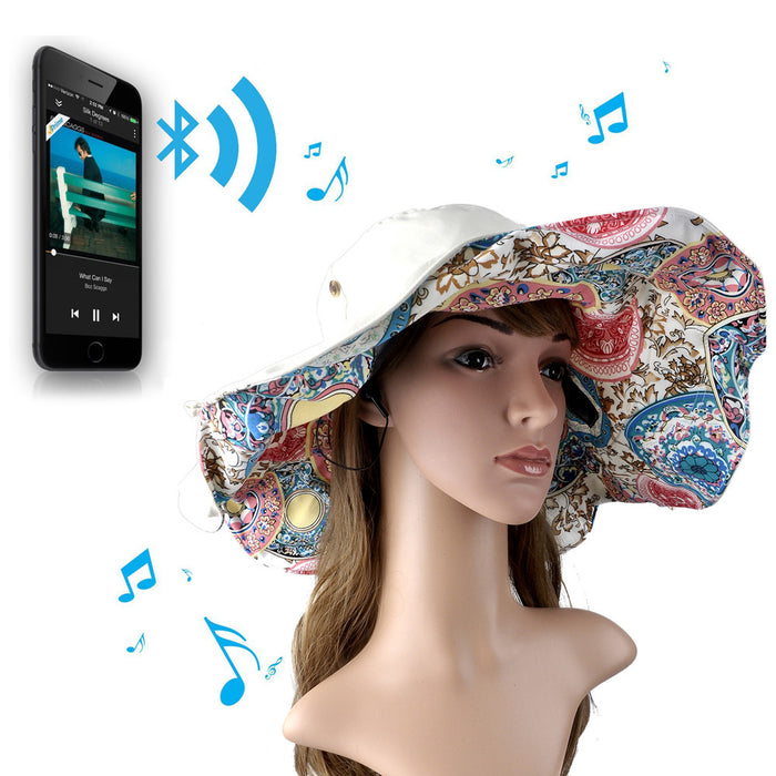 Bluetooth Summer Beach Cap Foldable Built-in Stereo Speakers Hands free Hat