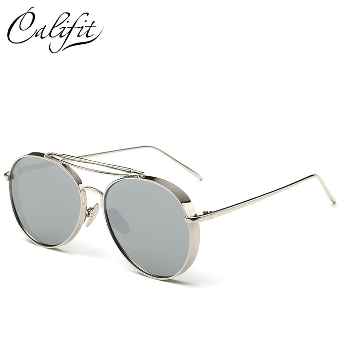 CALIFIT Mirrored Pink Sunglasses Over-sized Shades Pilot UV400 - ManSeeManWant