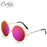 CALIFIT Ladies Oversized Mirror Round Sunglasses Vintage Design Shades