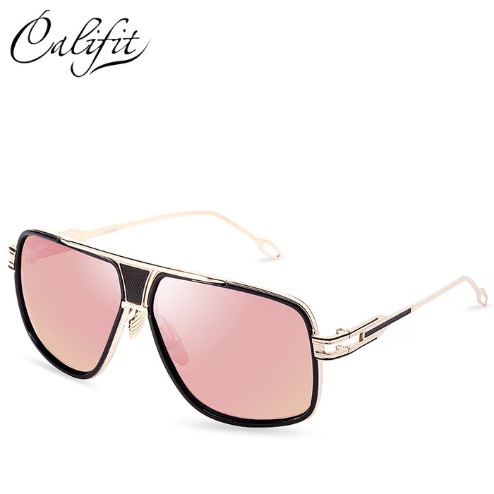CALIFIT Metal Frame Pilot Sunglasses Men Vintage Style Shades - ManSeeManWant