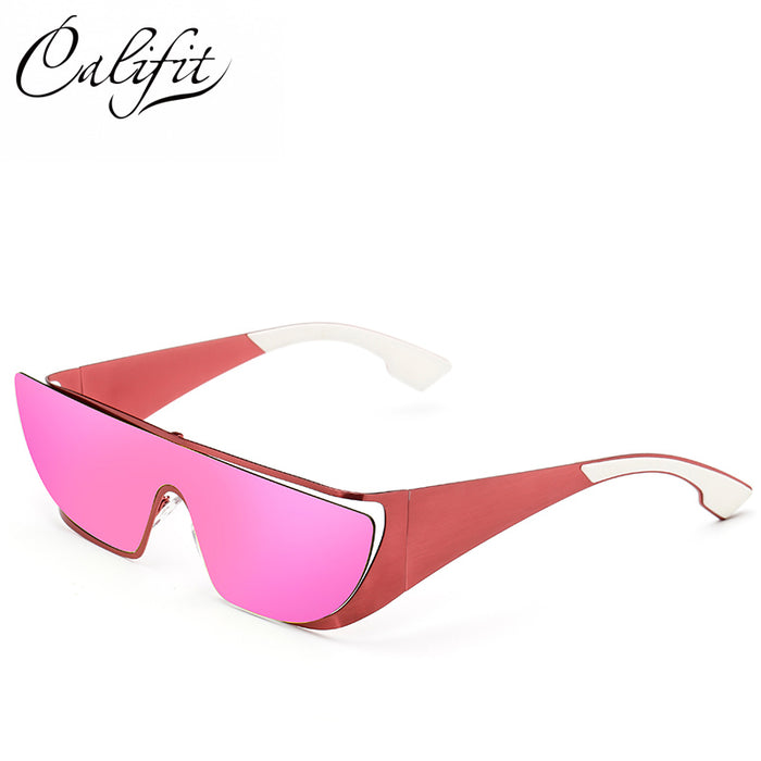CALIFIT Polarized Cat Eye Sunglasses Women Flat Top Lunette Femme - ManSeeManWant