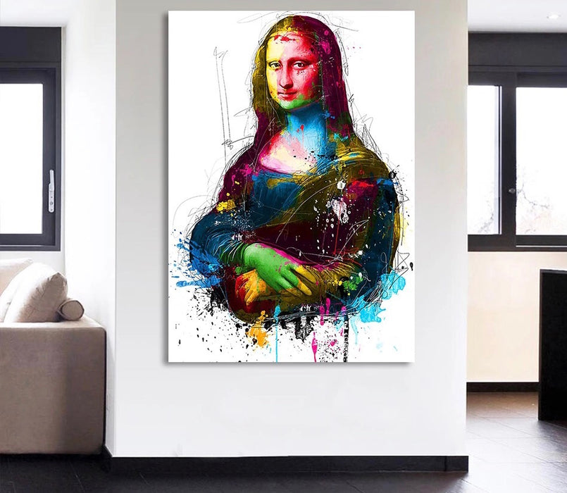 Framed Canvas Colorful Mona Lisa smile