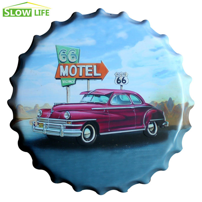 Car On Route 66 Bottle Cap Metal Tin Sign Vintage - ManSeeManWant