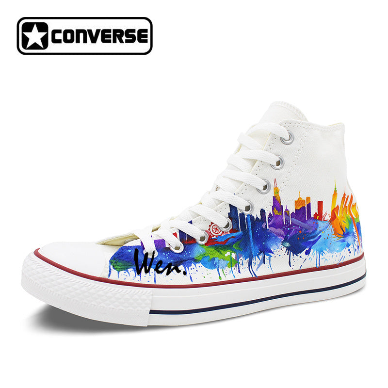 9025242fc904 Colourful Chicago Skyline Original Converse All Star Men Women Shoes -  ManSeeManWant