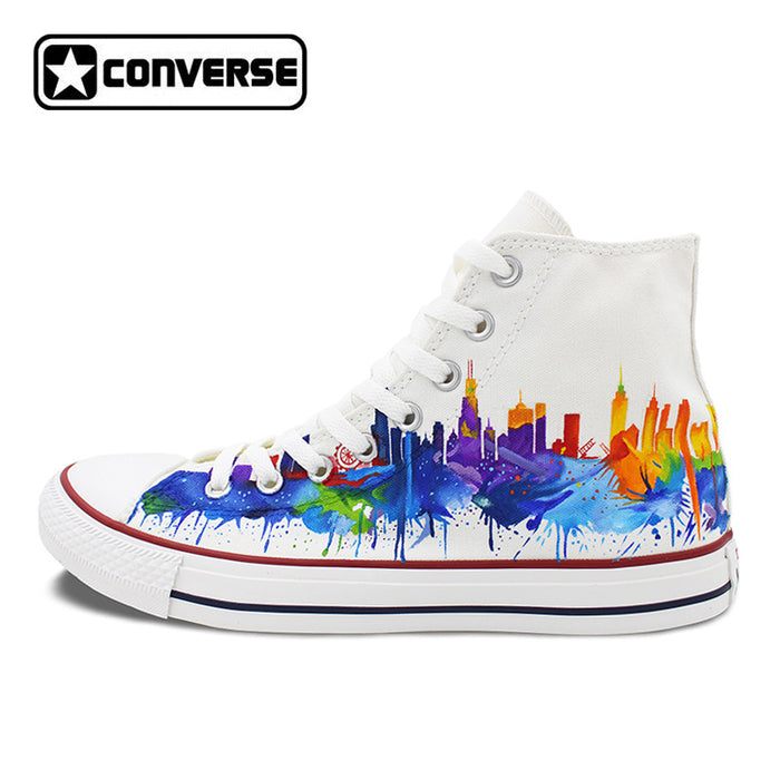 a519c65aa3cd03 Colourful Chicago Skyline Original Converse All Star Men Women Shoes