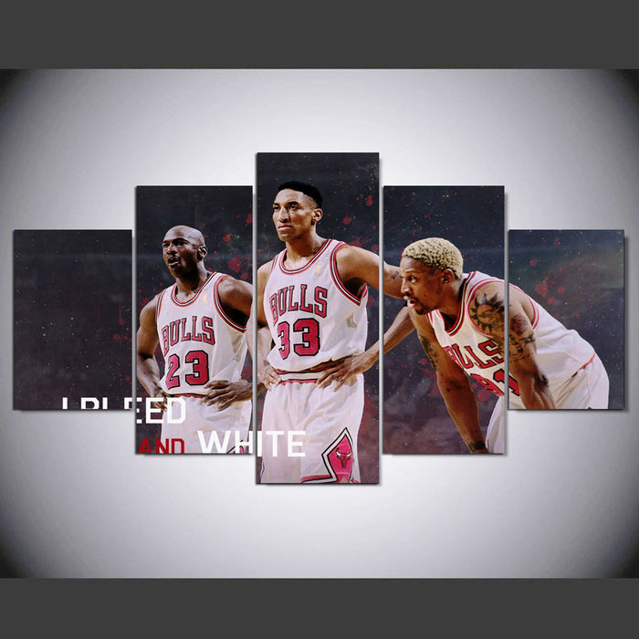 Bulls 5 Panels Basketball Canvas Wall Art for ManCave - ManSeeManWant