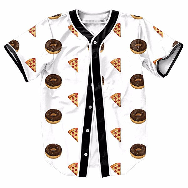Emoji Pizza Donuts Men Baseball Jerseys New Hip Hop Streetwear US Size Buttons Homme 3D Blue Shirt Brand Clothing - ManSeeManWant