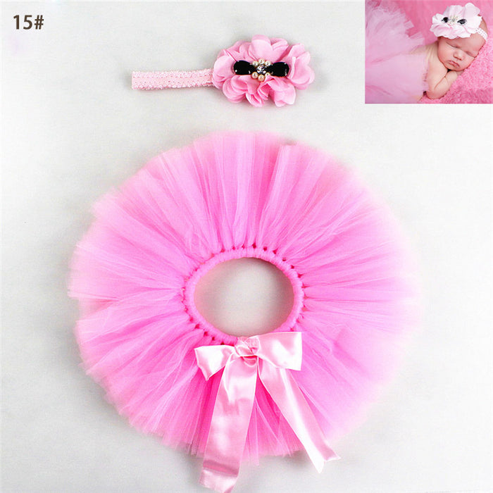 Burdick Haller Baby Girls Tutu With Flower Headband Infant Fluffy - ManSeeManWant