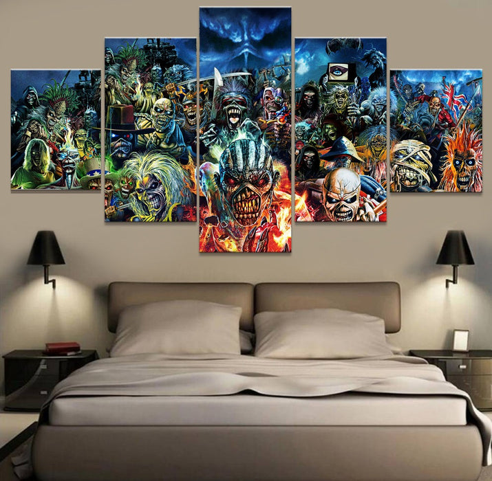 5 panel canvas art iron maiden heavy metal home decor ManCave