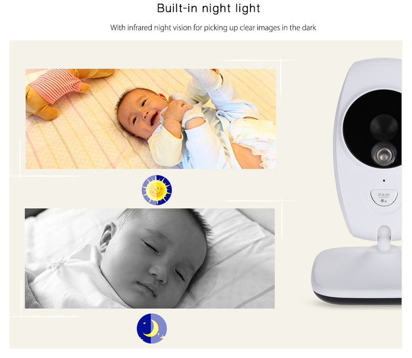 7.0 inch 2.4GHz Wireless 2 Cameras Video Baby Monitor Night Vision Temperature Detection - ManSeeManWant