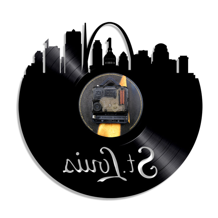Vinyl Record Wall Clock St Louis Skyline