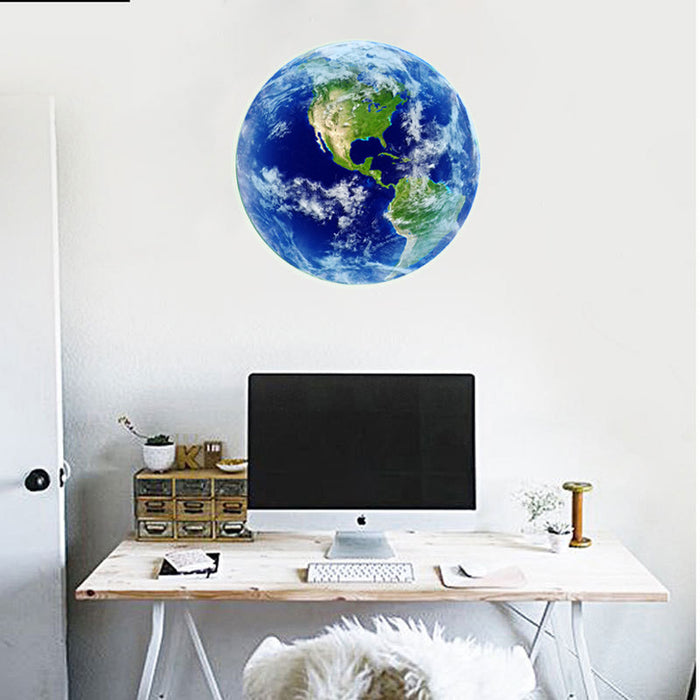 ... Bright Glowing Blue Earth 3d Wall Stickers For Kids ...