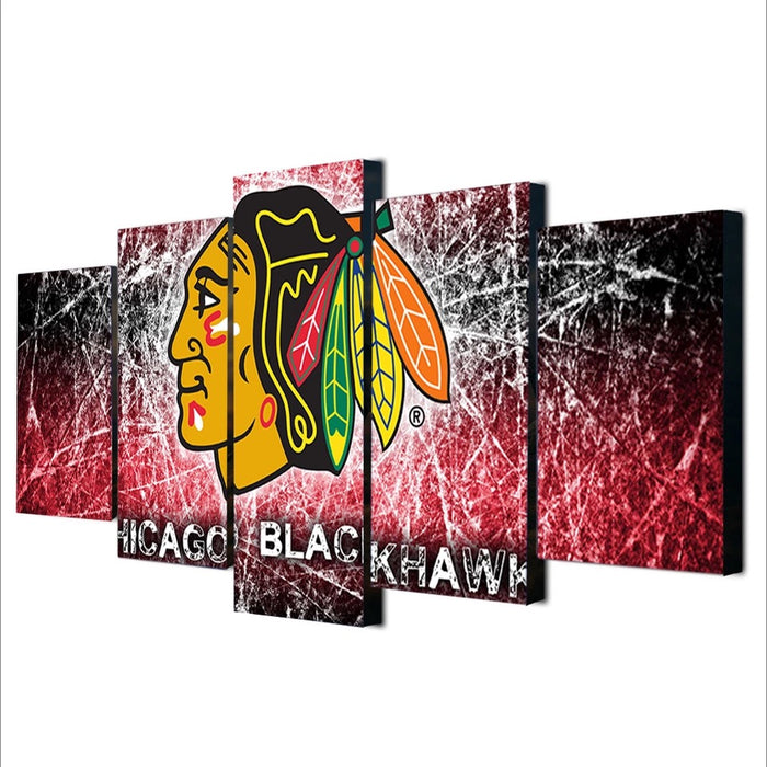 Chicago Blackhawks 5 Panel Canvas for ManCave NHL - ManSeeManWant