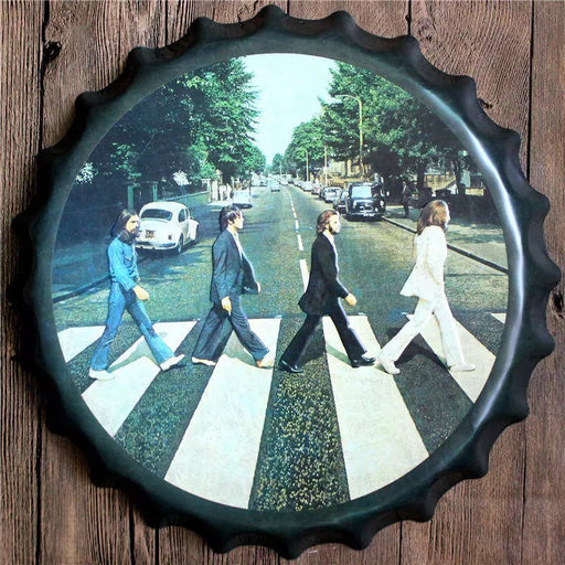 Beatles Bottle Cap Metal Tin Sign Vintage