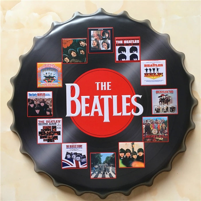 Beatles Bottle Cap Metal Tin Sign Vintage - ManSeeManWant