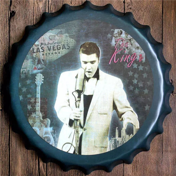 Elvis Bottle Cap Metal Tin Sign Vintage - ManSeeManWant