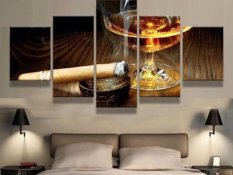 Cigar & Drink Art 5 Panel Canvas for ManCave - ManSeeManWant