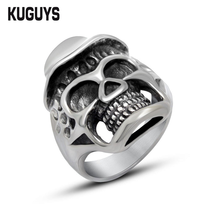 KUGUYS Stainless Steel Hat Skull Ring Mens  Motorcycle Rings - ManSeeManWant