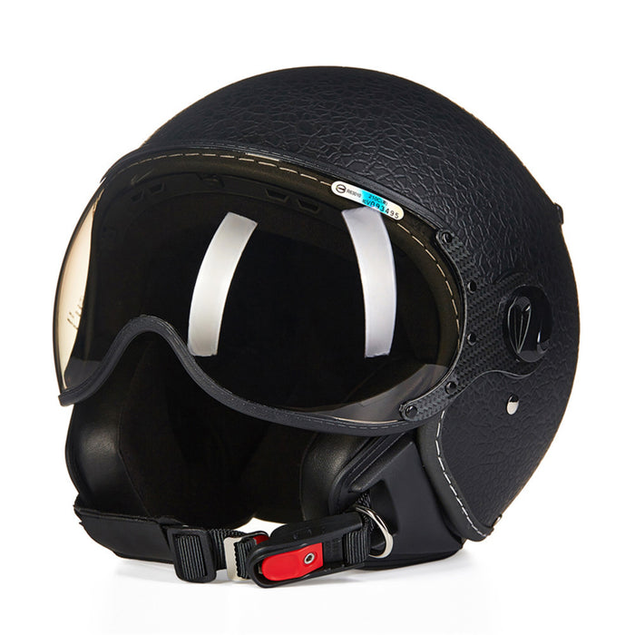 Leather Motorcycle Helmet Open Face Vintage - ManSeeManWant