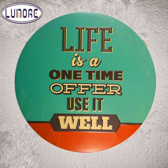 ManCave Metal Tin sign Round Wall Plaque Coffee Cafe Decor