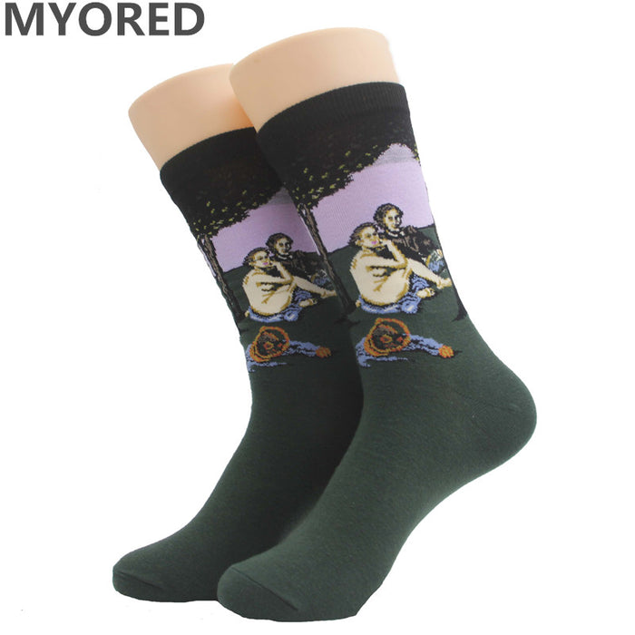 Odd art socks novelty famous oil painting