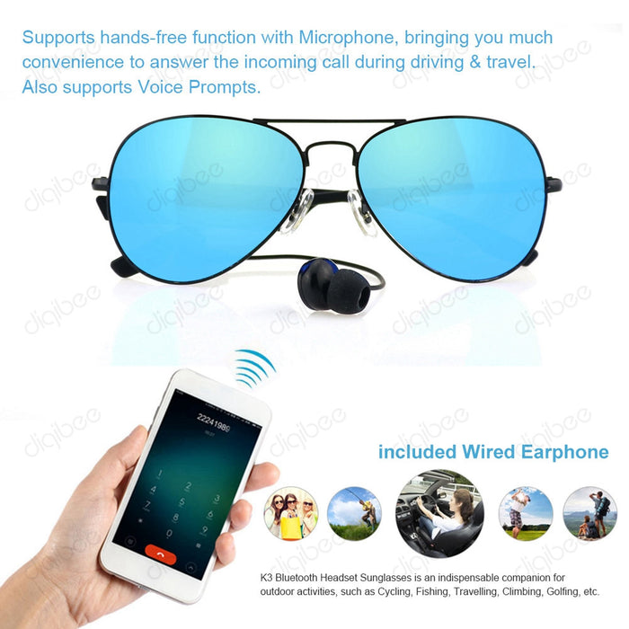 K3A Polarized Sport Smart Sunglasses Bluetooth w/ Mic for Smartphone - ManSeeManWant