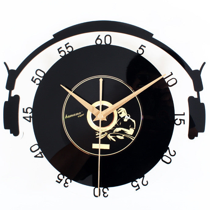 Vinyl Record Style Wall Clock  Creative Retro Art