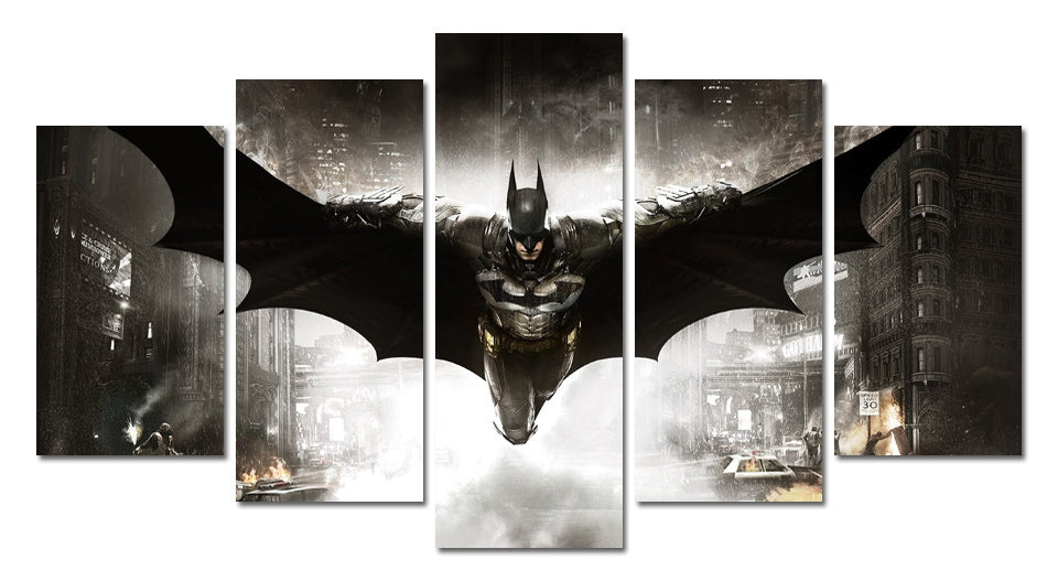 Batman and Joker 5 Panel Canvas For ManCave Styles - ManSeeManWant