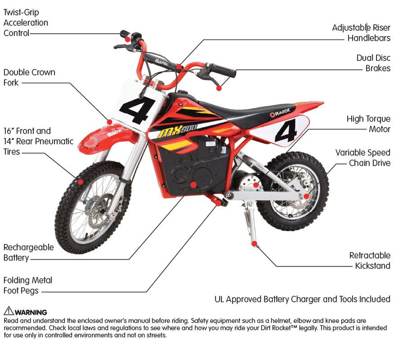 Razor MX500 Dirt Rocket Electric Motocross Bike - ManSeeManWant