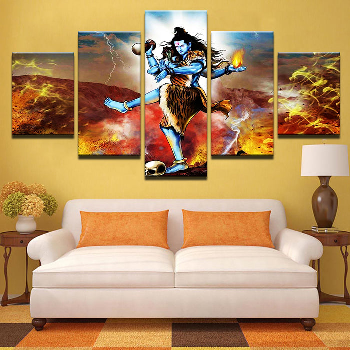 Hindu 5 Panel Canvas Art for ManCave