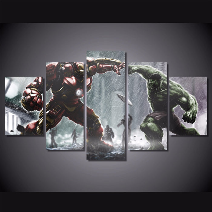 "The Hulk ""ManCave"" 5 Panel Canvas Art Kids Room"