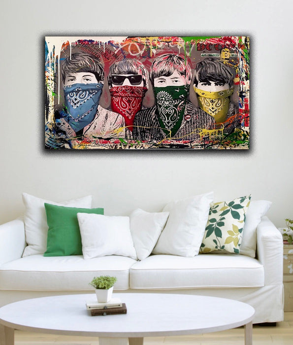 Banksy Beatles style graffiti canvas wall art