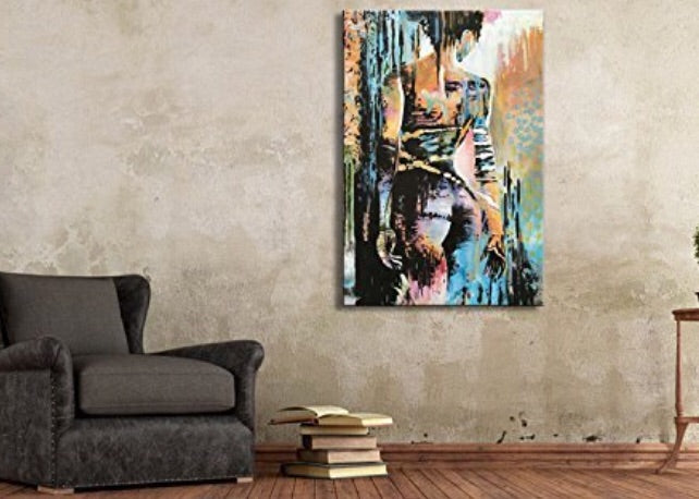 Handmade Woman Wall Art Abstract Figure on Canvas