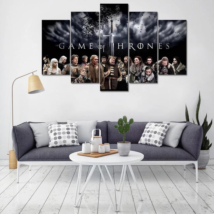 Game of Thrones 5 Panel Canvas For ManCave - ManSeeManWant