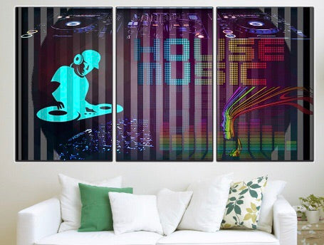 House Music 3 Panel Canvas Wall Art Decor