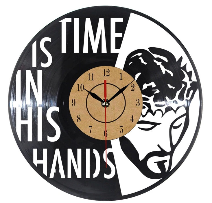 Time is in His Hands Vinyl Record Clock Jesus