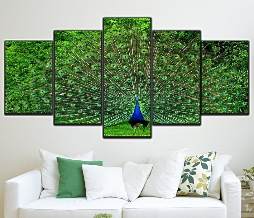 Peacock 5 Panel Canvas Art Wall Swag