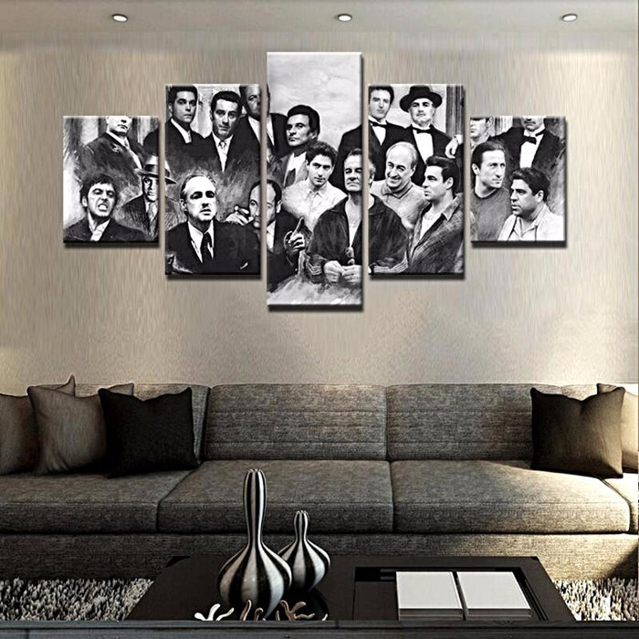 """Gangster ManCave"" 5 Panel Canvas Art for ManCave"
