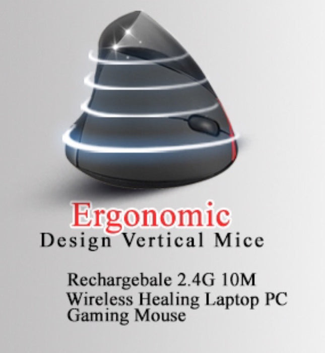 Luxury Black Rechargebale 2.4G Wireless Ergonomic Vertical Optical USB Mouse - ManSeeManWant