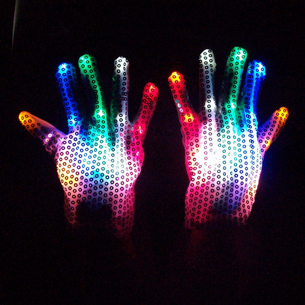 7 Colors LED Sequined Gloves - ManSeeManWant