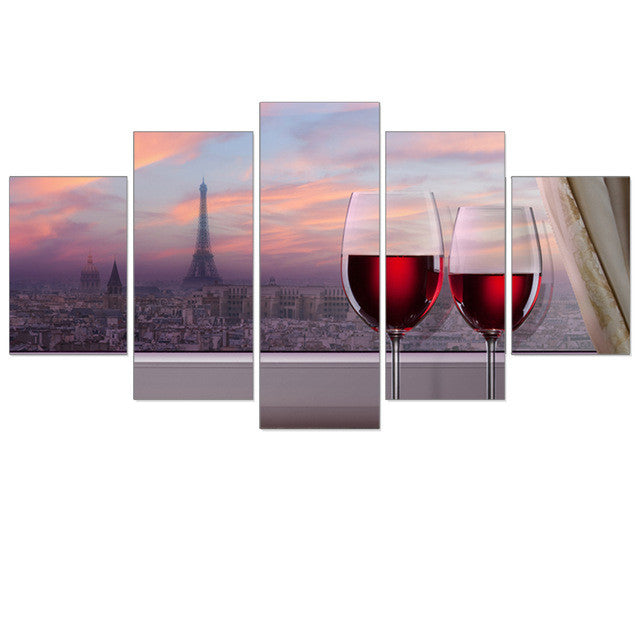 Canvas Red Wine Tipsy City Landscape 5pcs Home - ManSeeManWant
