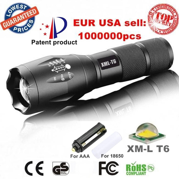 E17 XM-L T6 3800LM Tactical led Zoomable Flashlight - ManSeeManWant
