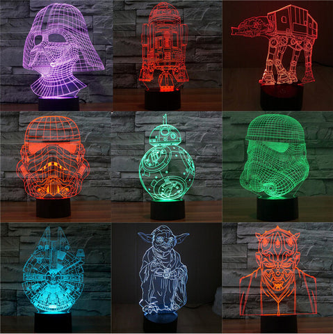 Star Wars BB8 droid 3D Bulbing Light Toys New 7 Color Changing Visual illusion LED Decor Lamp Darth Vader Millennium Falcon Toy - ManSeeManWant