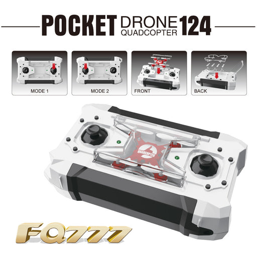 Dron Quadrocopter FQ777-124 Pocket Drone 4CH 6Axis Gyro Quadcopter With Switchable Controller RTF UAV RC Helicopter mini drone - ManSeeManWant