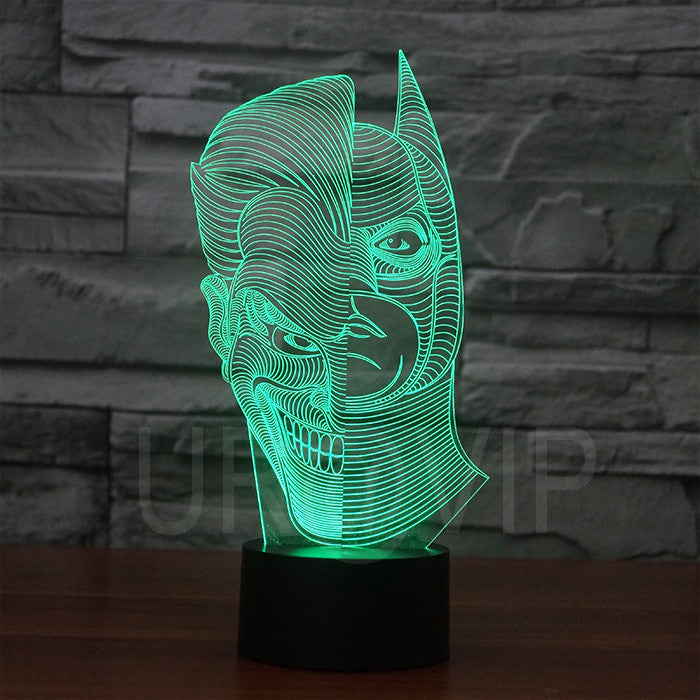 JC-2835  Amazing 3D Illusion led Table  Lamp Night Light with double face shape  with batman shape with mask shape - ManSeeManWant
