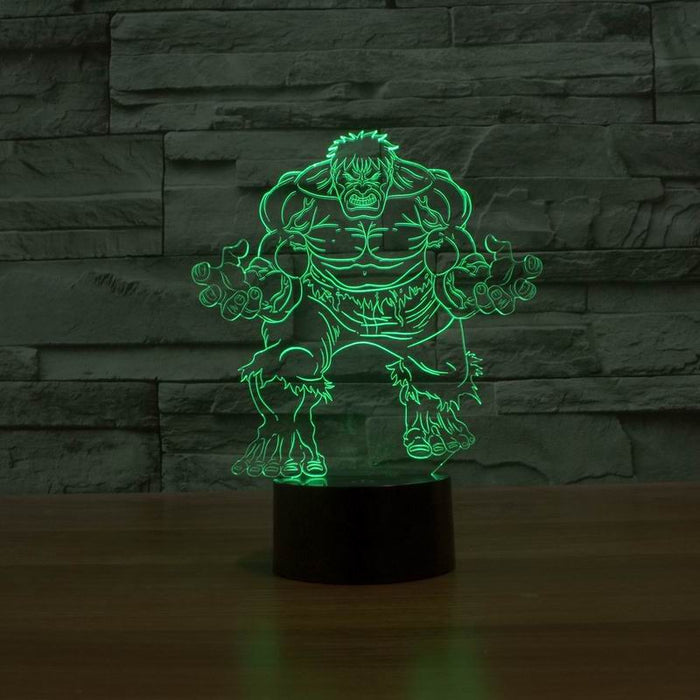 Amazing 3D Illusion Creative LED Table Lamp Night Light  with The Hulk Super Man Shape - ManSeeManWant