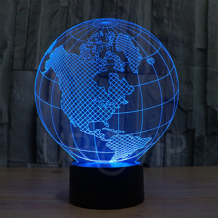 JC-2818 Amazing 3D Illusion led Table  Lamp Night Light with America earth shape with 7 color light - ManSeeManWant