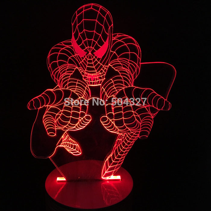 Spiderman shape Night Light 3D color changing Illusion lamp - ManSeeManWant