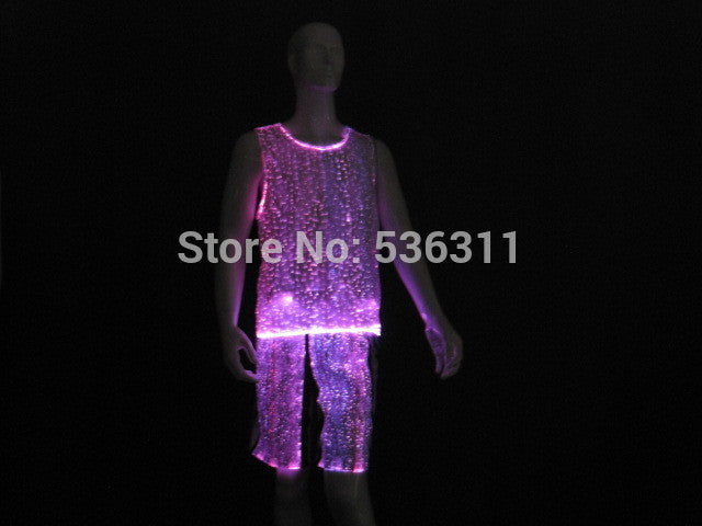 fiber optical luminous clothes tank top + short pants - ManSeeManWant
