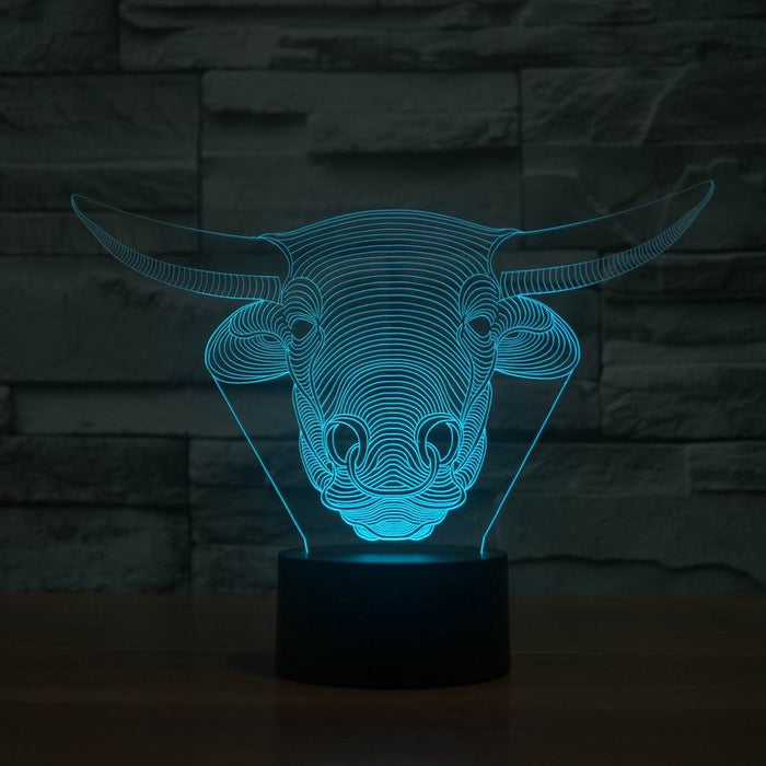Amazing 3D Illusion led Table  Lamp Night Light with animal bull shape   JC-2838 - ManSeeManWant